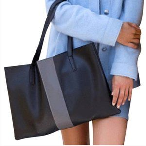 Vince Camuto vegan leather luck tote black